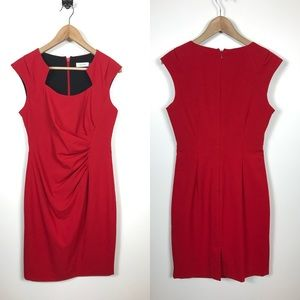 Calvin Klein 8 Red Holiday Sheath Dress Ruched